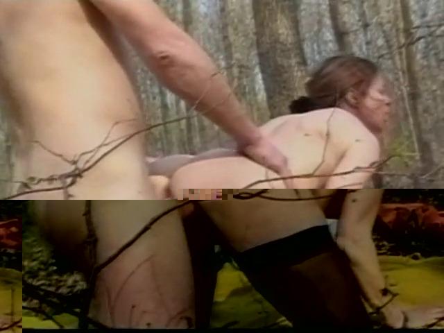 baise classique entre deux hommes et une femme mûrs dans la forêt